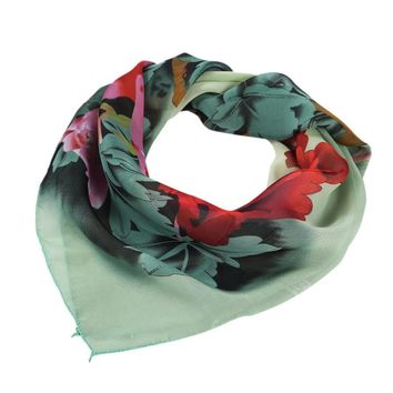 Women Plus Size Peony Chiffon Printing Square Scarf Head Wrap Kerchief Neck Shawl for Women Office #LSN