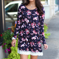 Winter Florals Tunic Dress {Navy Mix}