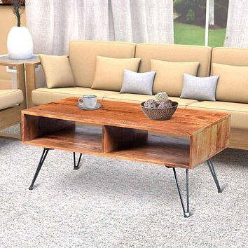 42 Inch Handcrafted Mango Wood Coffee Table with Metal Hairpin Legs, Brown and Black