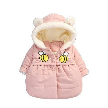2017 New Winter Style Cotton Knitted Snowsuit Female Baby Autumn And Winter Clothing Coat 0-3 Year Old Princess Hooded Outwear