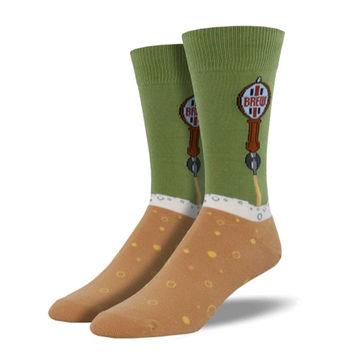 Novelty Socks BEER TAPS MOSS Fabric Crew Brew Mnc610-Mos