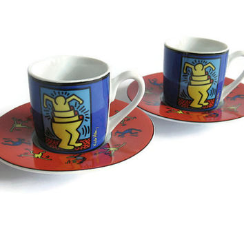 Keith Haring - vintage espresso cup and saucer - Pair - german porcelain by Konitz - no 3