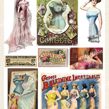 Corsets Vintage in Color Printable Collage Sheet Ladies Fashion Garments Underclothes Lingerie Underwear Chemises Image Transfer