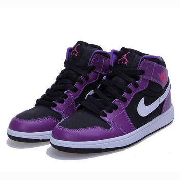 Nike Air Jordan Retro 1 High Tops Contrast Sports shoes Purple White hook G-CSXY