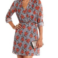 Belted Floral Chiffon Shirt Dress: Charlotte Russe