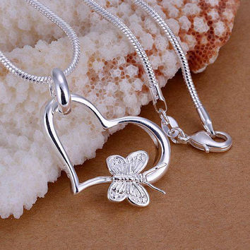 silver plated pendant,925 fashion Silver jewelry butterfly heart pendants necklace for women/men +chain -0411