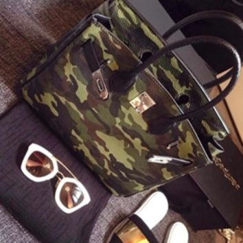 Olive Green Black Brown Camouflage Faux Leather Tote Bag