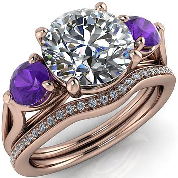Mira Round Moissanite Amethyst Side Split Shank Cathedral Hybrid Engagement Ring