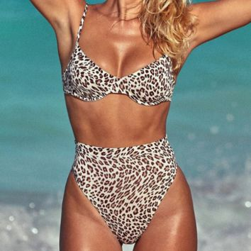 Fashion New Leopard Print Swimming Sexy Straps Two Piece Bikini Swimsuit