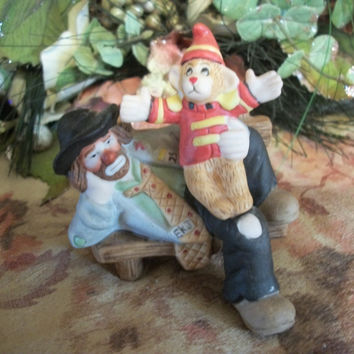 Emmett Kelly Jr. Clown Figurine Circus Monkey Sitting on Park Bench Porcelain Bisque Flambro Collectible from A Vintage Addiction
