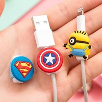 10pcs/lot Cartoon USB Cable Earphone Protector headphones line saver For Mobile phone charging line data cable protection
