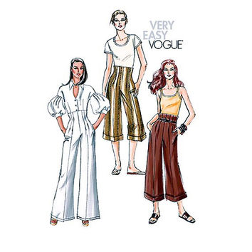 VOGUE PANTS PATTERN Wide Leg High Waisted Pants Very Easy Vogue 8367 2000s Womens Sewing Patterns Size 6 8 10 12 Waist 24 25 26.5 28 UNCuT