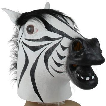 Halloween Suppliers Zebra Mask Latex Animal Costume Prop Halloween For Halloween 100% Brand New And High Quality Free Shipping