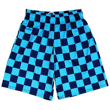Navy and Carolina Blue Checkerboard Lacrosse Shorts