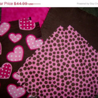 "Flannel rag quilt kit  hearts and dots baby nursery fringed die cut fabric squares and batting  ready to sew 39""x39"" quilting"