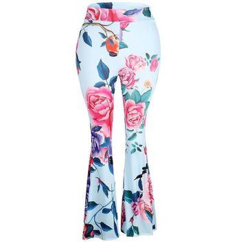 Women's Floral Print High-Waist Bell-Bottomed Pants