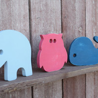 Wood Nursery Decor - Elephant, Owl, Whale - Shabby Chic Cottage Nursery