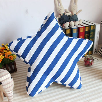 Mediterranean Sea Style Canvas Stripes Cushion [6282881926]