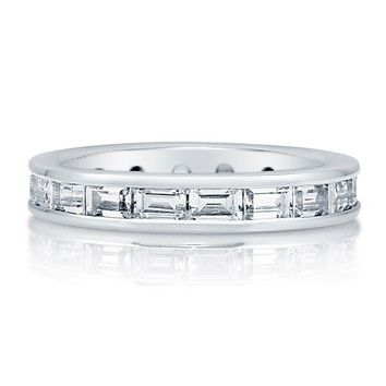Emerald Cut Cubic Zirconia CZ Sterling Silver Full Eternity Ring Band #r684