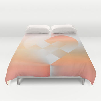 Danish Heart Coral Duvet Cover by Gréta Thórsdóttir | Society6 #heart #holiday #Christmas #coral #ombre #love