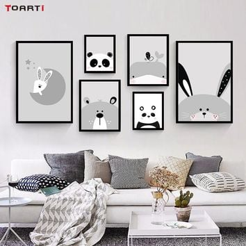 Cartoon Lovely Animals Rabbit Bear Fish Art Canvas Painting Posters And Print Nordic Wall Pictures For Kids Rooms Decoration