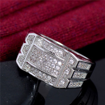 925 Sterling Silver Jewelry CZ Diamond Ring for Men Vintage Crystal Anel Masculino Engagement Wedding Rings 2016 New Arrival