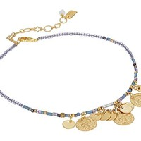 Chan Luu Seed Bead Anklet with Hanging Coins