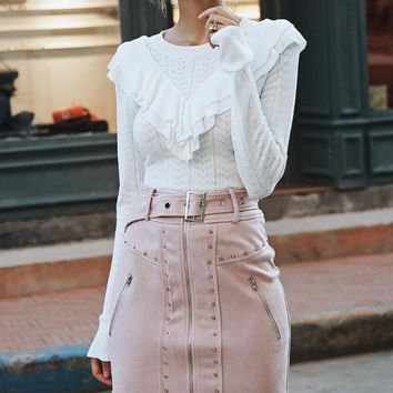 Suede Buckle High Waist Skirt - Pink