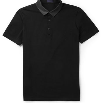 Lanvin - Grosgrain-Collar Cotton Polo Shirt | MR PORTER