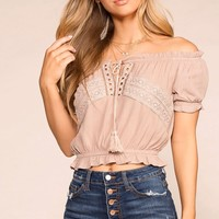 Michelle Taupe Off The Shoulder Top