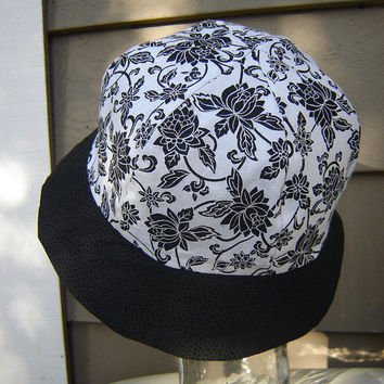 Ladies 100% Reversible Sun Bonnet, Black and Black/White Floral, Victorian Ladies Hat