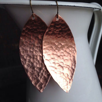 Etsy, Etsy Jewelry, Hammered Earrings, Copper Leaf earrings, Copper Earrings, Hammered Leaf Earrings, Dangle Earrings, Big Earrings