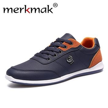 Merkmak Fashion PU Leathe Men Shoes Lace Up Designer Outdoor Men Spring Autumn Breatha
