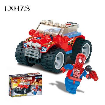 Spider Man Police Car Building Blocks Truck Model With Educational Bricks Toys Gift