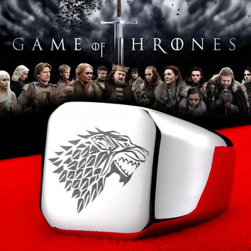 Beier Game of Thrones ice wolf House Stark of Winterfell 316L stainless steel ring for men jewelry BR8-274