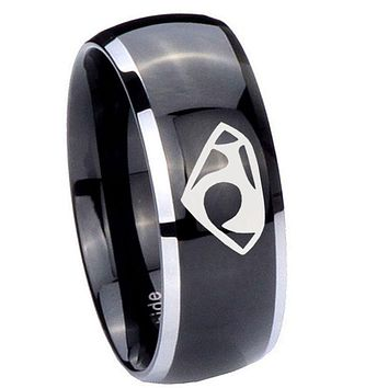 10mm House of Van Dome Glossy Black 2 Tone Tungsten Carbide Mens Wedding Band