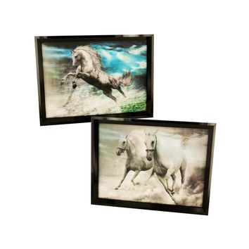 3D Holographic Horse Framed Wall Art Case Pack 2