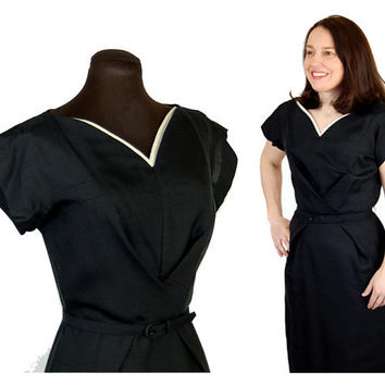 1950s wiggle dress, black silk dress, black white, cinched waist, Original Franklin, Size S/M