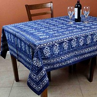 Block Print Tablecloth for Rectangle Square Round Tables Dabu Cotton Indigo Blue