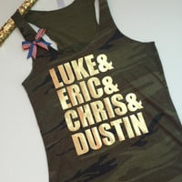 Luke Eric Chris and Dustin - Country Tank - Stagecoach -Camo tank  -  Ruffles with Love - Womens Fitness