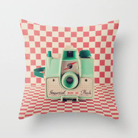 Mint Retro Camera on Red Chequered Background  Throw Pillow by Andreka Photography | Society6