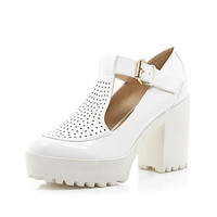 River Island Womens White chunky perforated T-bar platform shoes