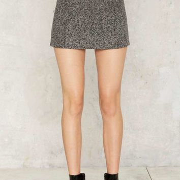 Little Do You Know Wool Mini Skirt