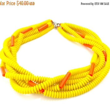 Mod Five Strand Necklace, Neon Yellow & Orange Glass Beads, Silver Tone, Statement Necklace, Bold Modern, Trending Fashion Piece, Vintage