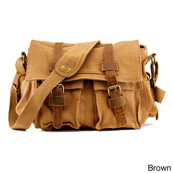 Gearonic Men's Vintage Canvas and Leather School Military Shoulder Bag | Overstock.com Shopping - The Best Deals on Messenger Bags