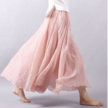 CREYONHS Summer Women Long Skirts Linen Cotton Elastic Waist Pleated Maxi Skirts Beach Boho Vintage Skirts New Sale