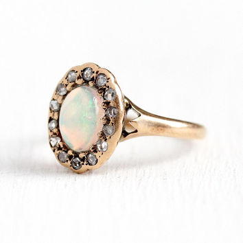 Edwardian Opal Ring - Antique 10k Rosy Yellow Gold Opal & Rose Cut Diamond Halo Ring - Sz 4 1910 Vintage Play of Color Gemstone Fine Jewelry