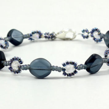 Blue Bracelet Daisy Chain Seed Bead Jewelry