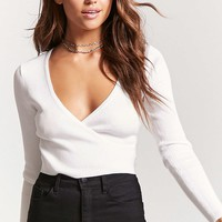 Ribbed Knit Surplice Sweater
