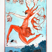 1920 French Vintage Illustration - Dancing Woman / Carnival Decoration / Red Disguise / French Riviera - Le Carnaval de Babel